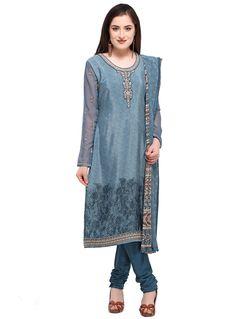d7d444886bf7be Blue Crepe Churidar Salwar Suit 133102 India