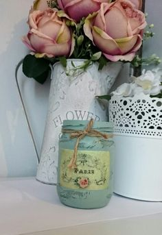 Vintage Shabby Chic upcycled Glass Jar Decoupage Chalk Paint Decoupage Jars, Vintage Shabby Chic, Glass Jars, Chalk Paint, Upcycle, Craft Ideas, Vase, How To Make, Crafts