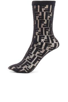 SOLD OUT! Famous FENDI Logo Print Nylon Socks, Black, One Size NWT #Fendi #AnkleHigh