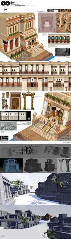 Images in the community post Bg Design, Game Design, Environment Concept Art, Environment Design, Ancient Architecture, Art And Architecture, Ancient Egypt, Ancient History, Isometric Art