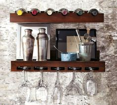 Holman Entertaining Shelves | Pottery Barn    Wineglass and Winebottle shelf, both in espresso