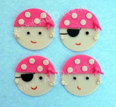 12 PINK PIRATE GIRL Edible Cupcake Toppers by SWEETandEDIBLE, #pirategirl #cupcakes #cupcaketopper