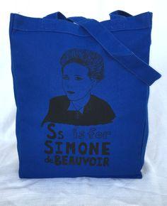 Feminist Alphabet Series: S is for Simone de Beauvoir Tote Bag