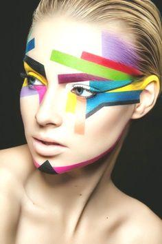 Makeup Paint Art, Art face, Colorful make up, Avangard Makeup Skin Makeup, Beauty Makeup, Daily Makeup Routine, Female Images, Colorful Makeup, Professional Makeup, Makeup Trends, Face Art, Insta Makeup