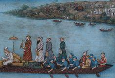 Mughal Emperor Aurangzeb out hawking on a lake. Late Mughal at Delhi, circa 1800