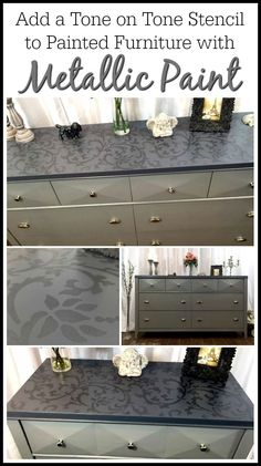 Add a tone on tone stencil to painted furniture using metallic paint for an added elegance. Adding a stencil to painted furniture is always a great idea!