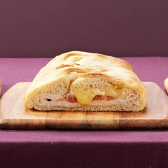 Turkey-Brie Stromboli Recipe -Mango chutney and melted Brie give this stuffed sandwich a mouthwatering flavor you won't soon forget! Refrigerated pizza crust and deli turkey help it come together in a dash. —Bonnie Buckley, Kansas City, Missouri