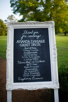 Skip the traditional programs and have a beautifully framed board like this!