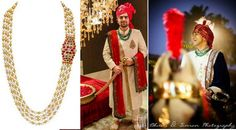 Your fiance may scrunch his nose at the sound of 'jewellery' but Groom wear jewels go back to the age of the Maharajas. And new age grooms are adapting that jewellery to current trends . Indian Groom Wear, Men's Grooming, Men Fashion, Jewels, Jewellery, Fitness, How To Wear, Stuff To Buy, Accessories