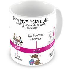 Caneca de Porcelana Casamento Timeline do Casal - ArtePress - Brindes em Almofadas, Canecas, Copos, Squeeze
