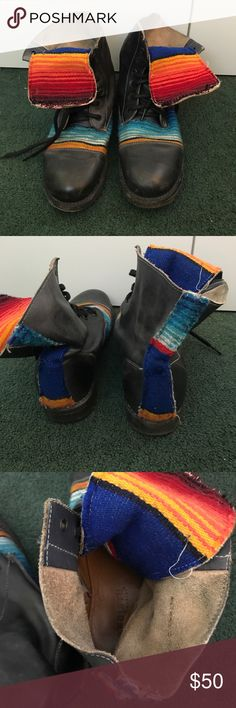 Bed Stu combat boots Bedstu combat boots with Mexican blanket detailing - lightly worn Bed Stu Shoes Combat & Moto Boots