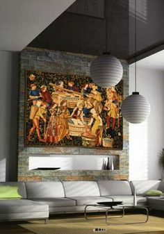 Modern interior decorating with tapestry wall hangings adds luxury and an exquisite look to room decor. Fabulous wall tapestries in many different styles enhance home interiors and bring elegance and