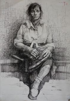 Saatchi Online Artist: Kristine Jansone; Pen and Ink, 2000, Drawing Woman