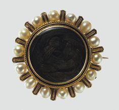 Brooch, 1868  Tiffany & Company (American, 1837–present)  Gold, pearls, black enamel, hair