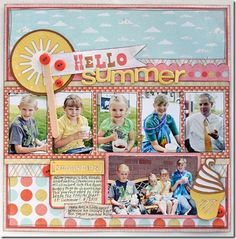 I must have some of these pictures from in front of the Ice Cream Truck.....  Layout by: Jana Eubank 12x12 Scrapbook, Scrapbook Sketches, Vacation Scrapbook, Scrapbook Page Layouts, Scrapbook Paper Crafts, Digital Scrapbooking, Scrapbook Photos, Paper Crafting, Scrapbooking Ideas