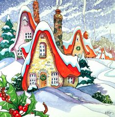 """Daily Paintworks - """"Tis the Season Storybook Cottage Series"""" - Original Fine Art for Sale - © Alida Akers Cute Cottage, Cottage Art, Christmas Note, Doodle, Storybook Cottage, Vintage Christmas Cards, Holiday Cards, Whimsical Art, Whimsical Christmas Art"""
