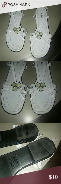 Coral Bay sandals White peep toe sling back white sandals. Beautiful circular jewel on the top. Coral Bay Shoes Sandals