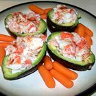Seafood stuffed avocados...This is one of my favorite new recipes. you will love it too if you are a fan of avocados and seafood. I thought the paprika topped it off perfectly. I have made it two times already. ** real crab is much better than artificial and gives recipe more of a bang