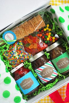 Ice cream social in a box--a perfect hostess gift if you are headed to someone's beach house or a summer party....- this site has all kinds of great recipes & entertaining ideas!  PAGE 4