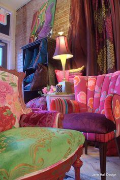Vintage Arm Chair Upholstered in Magenta, Plum Pumpkin Cut Velvet, Silk and Bold Print Designers Guild Fabric