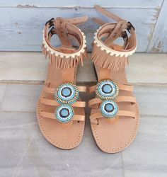 Boho Sandals Ethnic leather sandals Galdiator Sandals
