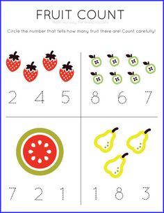 Fruit Count Math Worksheet
