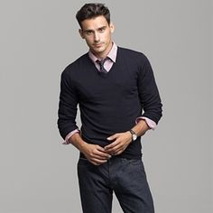 Like the pairing of sweat with nice dress shirt under the sweater. Skip the tie. Do a hunter grey sweater and soft tone dress shirt (lavender would look nice).