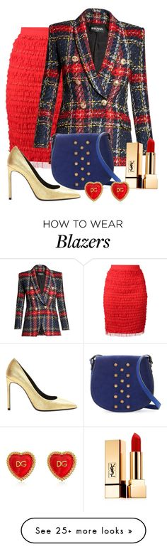 """Tweed & Ruffles"" by shamrockclover on Polyvore featuring Givenchy, Balmain, Neiman Marcus, Yves Saint Laurent, Dolce&Gabbana and polyvoreeditorial"
