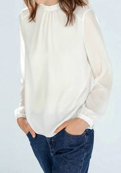 Cutout Sheer White Blouse