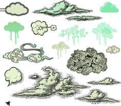 Ilustraciones nubes establecen