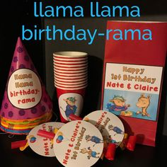 Llama Llama Birthday-Rama Party SUPER PACK!!! 8 Party Multi-Colored Hats, 8 personalized Favor Bags, 8 cups & 8 Blowouts - Savings of over 10% by bundling! Personalization & images may be changed to your liking. Please note these items are store bought then hand customized by me. 