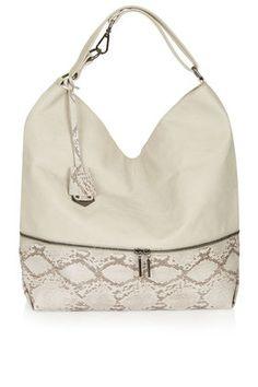 Slouchy Snake-Effect Hobo Bag