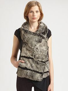 Helmut Lang Flux Rabbit Fur and Leather Vest