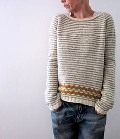 Almost there. Knitting pattern by Isabell Kraemer Pullover Streifen Almost there. Knitting pattern by Isabell Kraemer Sweater Knitting Patterns, Knit Patterns, Afghan Patterns, Amigurumi Patterns, Knitting Stitches, Diy Pullover, Moda Casual, Knit In The Round, Stockinette