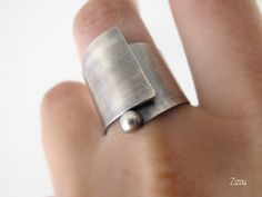 Wide band swirl silver ring made to order by ZizouArT on Etsy, $89.00