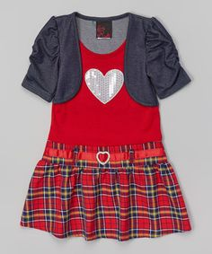 Another great find on #zulily! Red Plaid Layered Drop-Waist Dress - Toddler & Girls by Girls Rule #zulilyfinds
