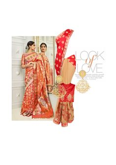 'Look of Love' by me on Limeroad featuring Red Sarees with Non Precious Gold Earrings