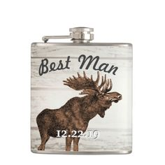 Best Man Flask Vintage Moose