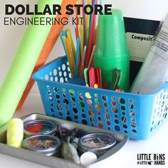 Put together a dollar store engineering kit for awesome and affordable STEM activities and projects anytime! DIY dollar store engineering kit for all ages.