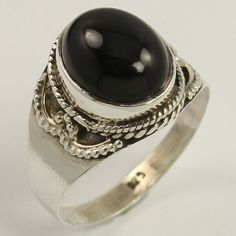 Natural BLACK ONYX Gemstone 925 Sterling Silver Jewelry Elegant Ring Size US 8.5 #Unbranded