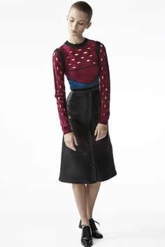 The Colorblock Pointelle Stitch Bustier Top And The Button Front A Line Skirt