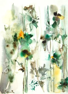 Abstract Original Watercolor Painting Green Floral by CanotStop