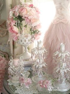 Pink Bird Cage and Candlesticks by mylulabelles, via Flickr