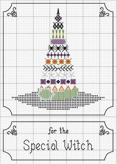 witch hat for special witch - cross stitch chart