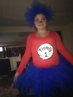 I made a Thing 1 costume for Angel to wear for halloween. She loved it