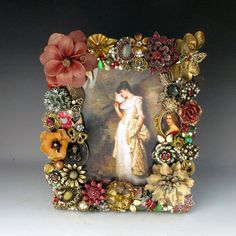 Vintage Jewelry Picture Frame Victorian Mauves by vintagedesign39
