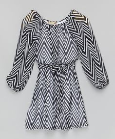 Loving this Black & White Zigzag Sash Dress on #zulily! #zulilyfinds