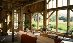 Marsh-Winton Guest Barn by Miller Architects Architecture Building Design, Vernacular Architecture, Log Cabin Living, Barn Living, Country Living, Living Room, Blown In Insulation, Sips Panels, Barn Renovation