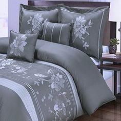 Gray Floral Duvet Cover King Cal/King Oversized Modern Flowers Embroidered Pattern 100 Cotton Luxury 5 Piece Bedding and Pillows Pillowcases Shams Set