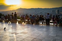 Sonnenuntergang, Barcelona, Touristen, Belvedere